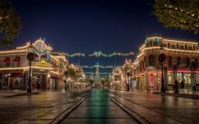 Обои дорога, небо, город, огни, праздник, новый год, рождество