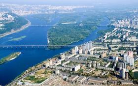 Обои город, река, фото, дома, сверху, мосты, Украина