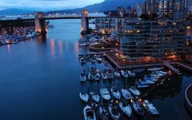 Обои море, вода, мост, огни, отражение, корабли, яхты