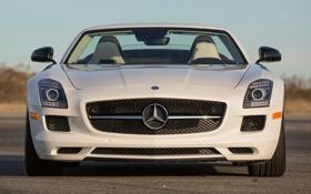 Картинка авто, фары, Roadster, Mercedes-Benz, логотип, AMG, SLS