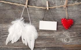 Картинка ткань, прищепки, подушечка, сердце, крылья, листок
