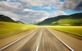 Картинка дорога, небо, трава, фото, обои, скорость, облака. горы
