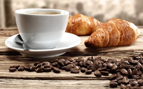 Картинка кофе, кофейные зерна, круассаны