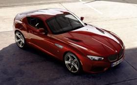 Обои красный, купе, тень, BMW, БМВ, Coupe, передок