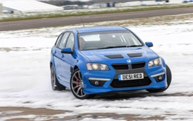 Обои Зима, Синий, Снег, Машина, Капот, Занос, Vauxhall