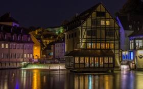 Картинка ночь, мост, огни, река, дома, Германия, Бамберг