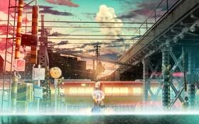 Картинка закат, девушки, дождь, улица, поезд, зонт, touhou