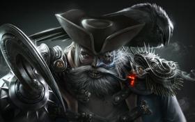 Картинка усы, шляпа, пират, ворон, крюк, одноглазый