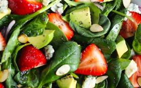 Обои зелень, сыр, клубника, миндаль, strawberry, салат, авокадо