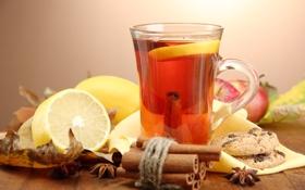 Картинка лимон, чай, яблоки, печенье, корица, анис