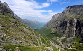 Обои дорога, горы, скалы, панорама, ущелье, серпантин