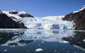 Картинка горы, отражение, ледник, Аляска, залив, Alaska, лагуна