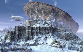 Обои снег, планета, скалы, дирижабль, база