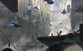 Обои город, планета, мегаполис, spaceship, sci-fi