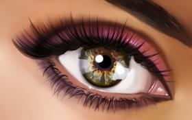 Обои макро, глаз, ресницы, макияж, зрачок, тени, бровь
