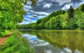 Обои пейзаж, природа, река, HDR, Германия, тропинка, Hessen Lich