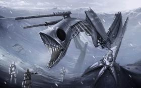 Обои снег, робот, монстр, арт, пасть, солдаты, клыки