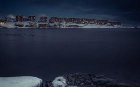 Обои облака, ночь, огни, озеро, дома, буря, Гренландия