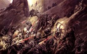 Обои armor, rocks, army, battle, swords, Dark Elf, enemy