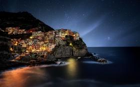 Картинка море, небо, звезды, ночь, красота, городок, photographer