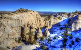Картинка New Mexico, Скалы-Палатки, Каша-Катуве, конусообразные, Tent Rocks, палаточные скалы