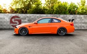 Картинка оранжевый, чёрные, bmw, бмв, профиль, wheels, диски