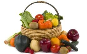 Обои корзина, овощи, фрукты. ягоды