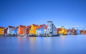 Обои цвета, вода, озеро, отражение, дома