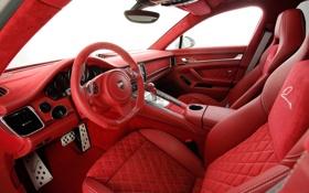 Обои красный, салон, Porsche-Panamera