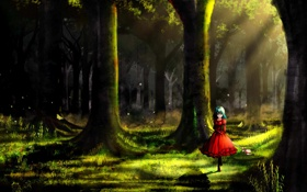 Обои лес, девушка, свет, деревья, art, henet hene