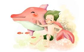 Обои мальчик, пикосновение, рисунок, рыбки, под водой, улыбка, дельфин