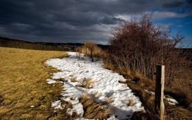 Картинка зима, поле, снег, природа, забор
