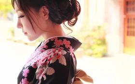 Обои лицо, стиль, одежда, кимоно, азиатка