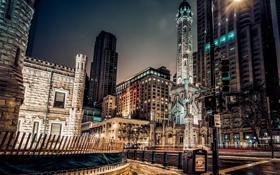 Картинка ночь, city, огни, небоскребы, Чикаго, USA, Америка