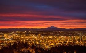 Картинка огни, восход, утро, Орегон, Портленд, США, заря