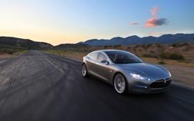 Обои дорога, будущее, електормобиль, TeslaModelS, водила