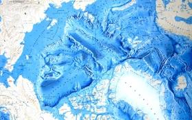 Картинка океан, карта, арктика, рельеф