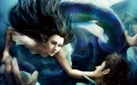 Картинка чешуя, фантастика, хвост, вода, человек, волосы, лицо