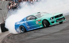 Обои зрители, авто обои, formula drift, Ford mustang, дым трасса