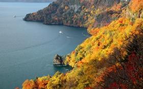 Обои море, осень, деревья, горы, корабль, катер