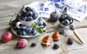 Картинка ягоды, натюрморт, сливы, ежевика, инжир, фиги