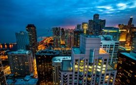 Картинка свет, город, огни, здания, дома, небоскребы, вечер