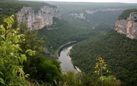 Картинка горы, река, скалы, Франция, Альпы, панорама, ущелье