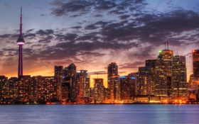 Картинка widescreen wallpapers, небо, города, Toronto wallpapers, Canada wallpapers, Торонто, дома