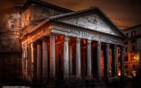 Обои свет, ночь, Рим, photographer, Пантеон, Guerel Sahin