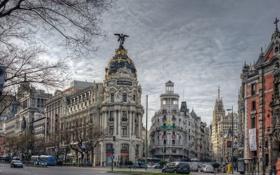 Картинка здания, автомобили, столица, Spain, Madrid