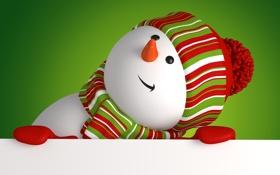 Обои новый год, снеговик, christmas, new year, cute, snowman, banner