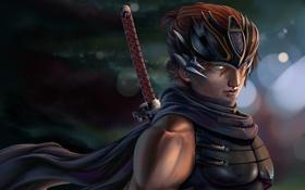 Обои меч, катана, арт, парень, Ryu Hayabusa, Dead or Alive