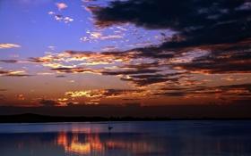 Обои закат, пейзаж, река, природа, солнца, корабль