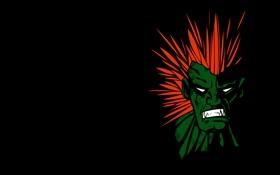 Картинка зеленый, злой, зверь, черный фон, уличный боец, street fighter, blanka